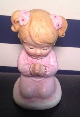 Lefton Pink Girl Praying Figurine Child Collectible Baby