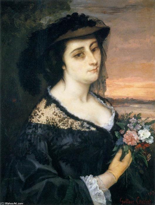 'Porträt von Laure Borreau', öl auf leinwand von Gustave Courbet (1819-1877, France)