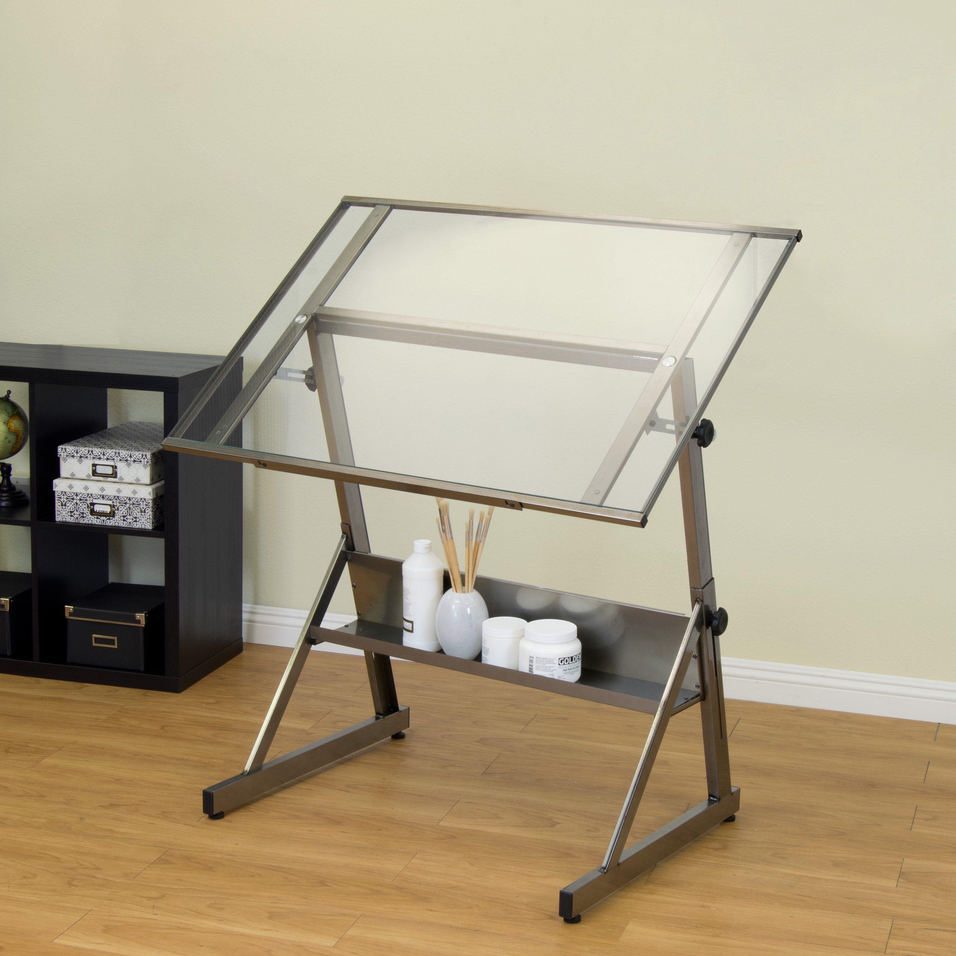 Studio Designs Solano Adjustable Glass Drafting Table Www Hayneedle Com Drafting Table Design Table Design