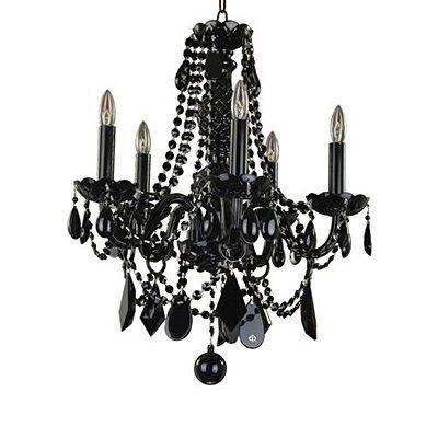 glow lighting chandeliers. Glow Lighting 583JD5LJB-7J 5 Light Chandelier, Jet Black Chandeliers