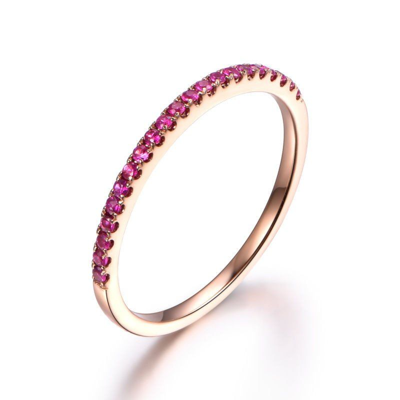 Pave Red Ruby Wedding Band Half Eternity Anniversary Ring 14K Rose