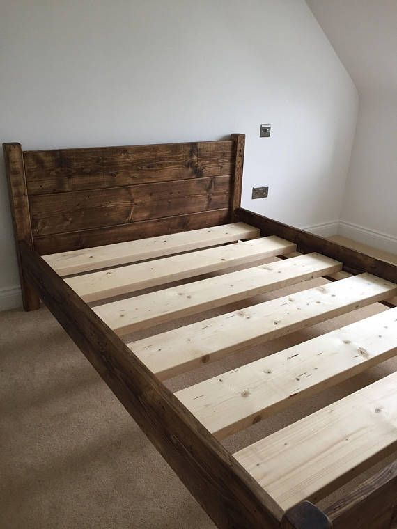 Bed Frame Chunky Solid Rustic Pine Wood With Headboard Slim All
