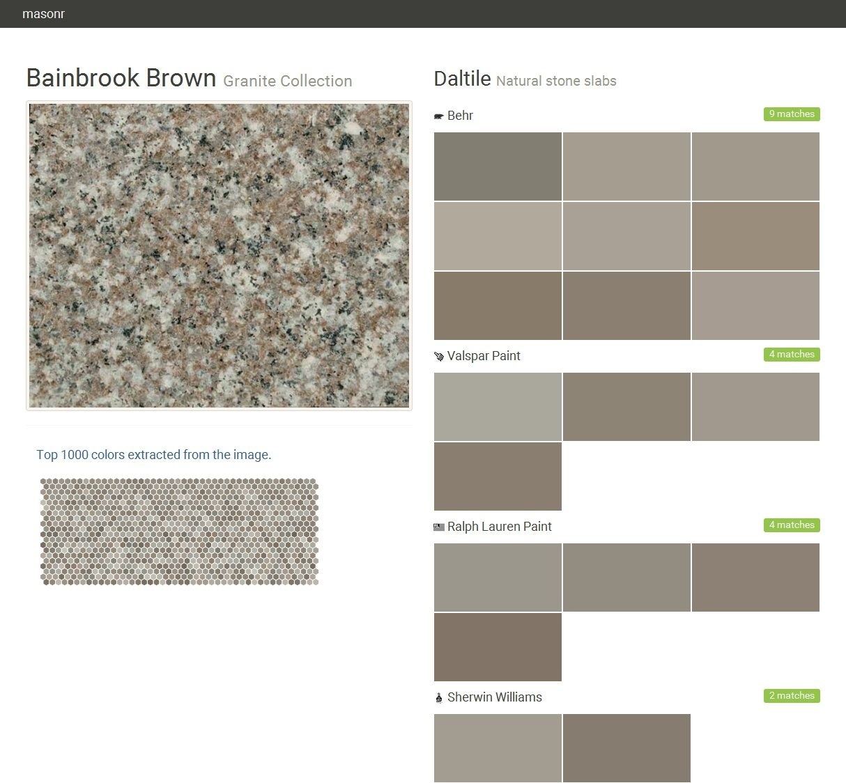 Bainbrook brown granite collection natural stone slabs for Gray stone paint color
