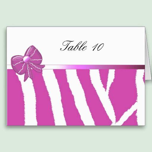 Pink Zebra Pattern Table Seating Card