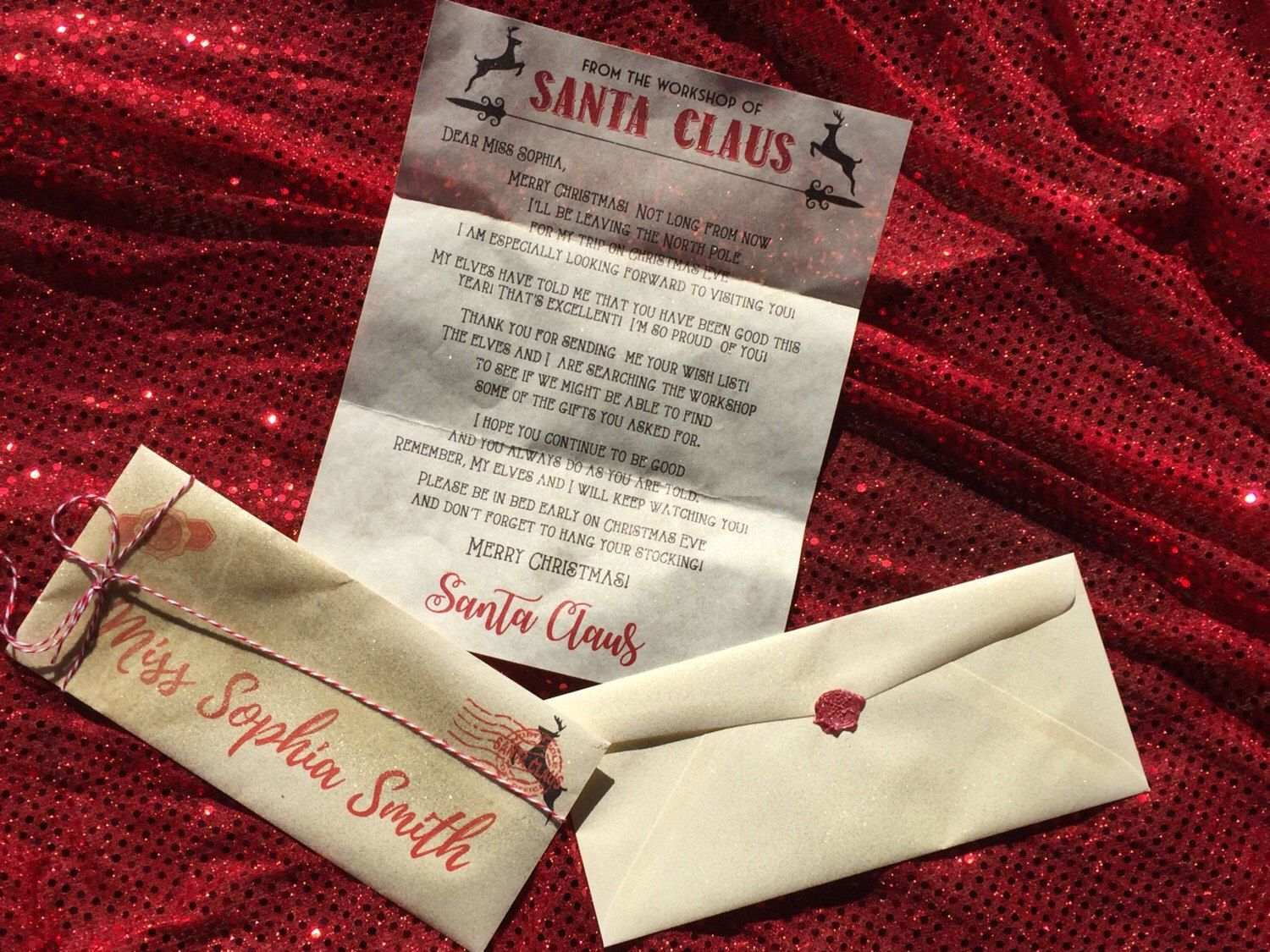 personalized letter from santa elf letter wax seal peppermint