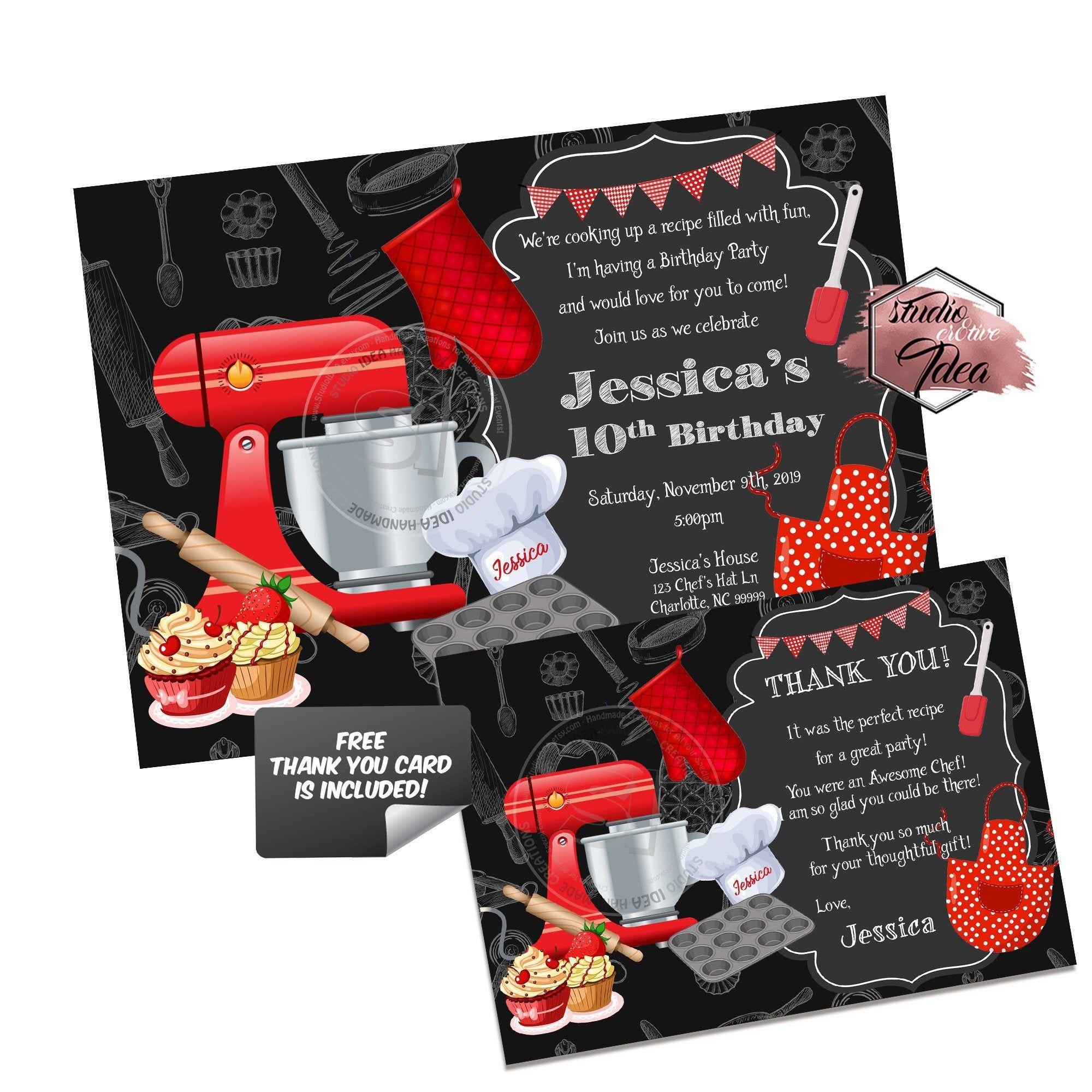 Custom Baking Theme Birthday Party Printable Invitation