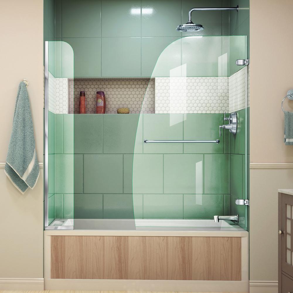 Dreamline Aqua Uno 60 In X 58 In Semi Frameless Hinged Tub Door