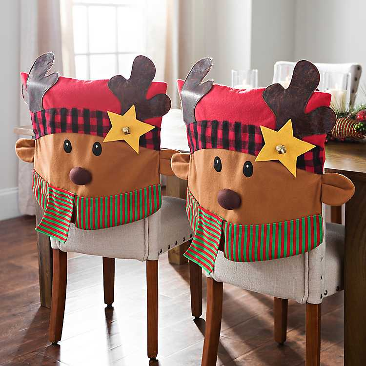 Decorate Your Dinning With These Lovely Christmas Chair: Plaid Reindeer Christmas Chair Covers, Set Of 2