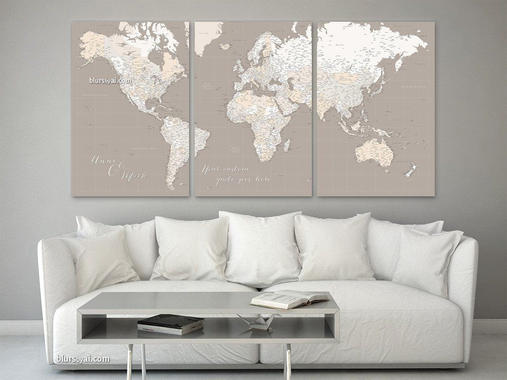 Custom quote set of 3 canvas prints or push pin maps multi panel custom quote set of 3 canvas prints or push pin maps multi panel highly detailed world map with cities light earth tones gumiabroncs Image collections