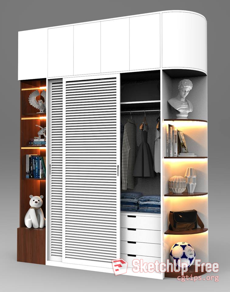 1231 Wardrobe Sketchup Model Free Download | Sketchup Free