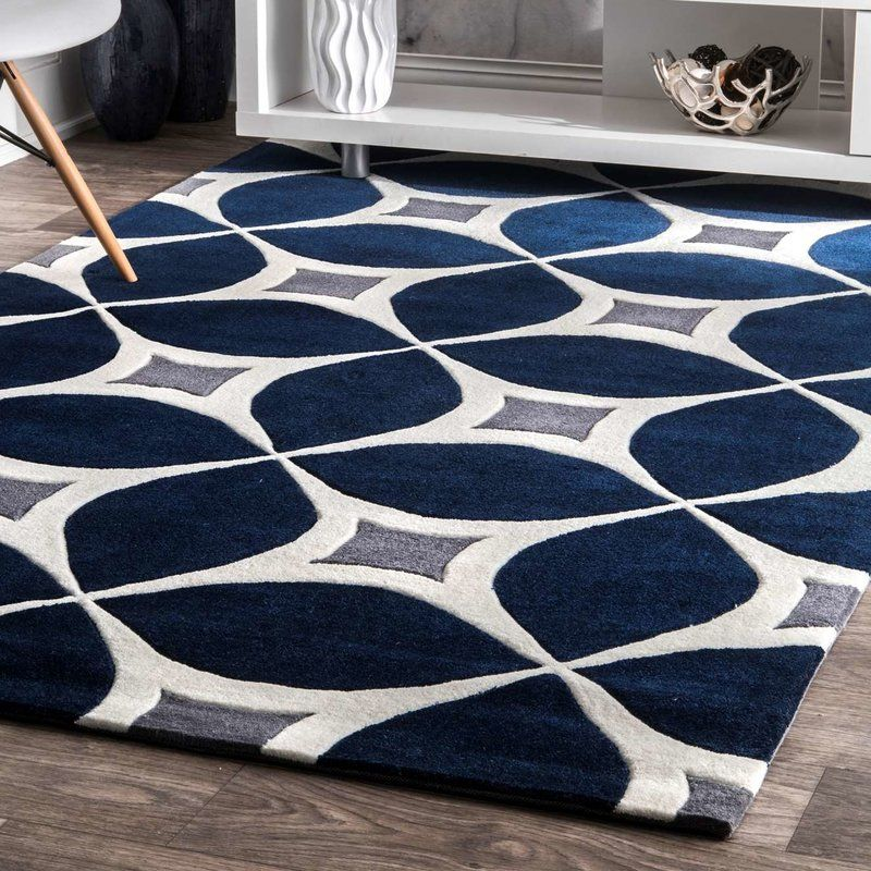Solid Colors Pair With A Geometric Motif To Give This Hand Tufted Rug An Artful Look That Instantly Elevate Handmade Area Rugs Blue Gray Area Rug Colorful Rugs