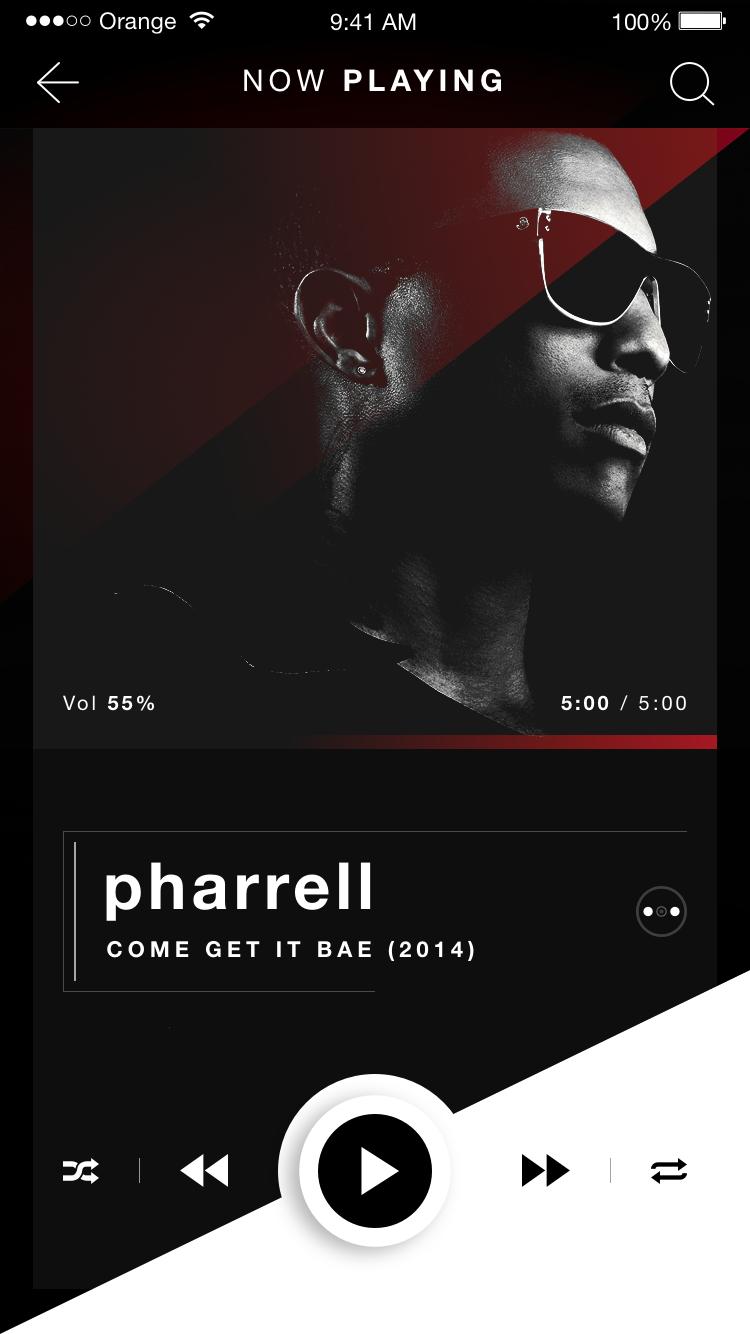Now Playing Music Player Pharrell Ios App Design Dribbble Full Png By Robert Berki Ios App Design Music Players App Design