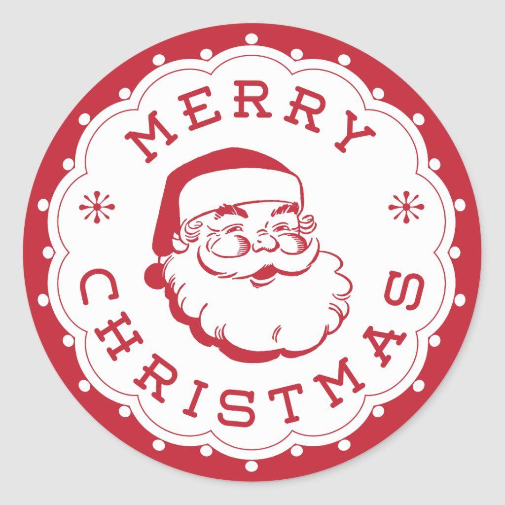 Merry Christmas Santa Round Sticker Zazzle Com Christmas Stickers Printable Merry Christmas Santa Christmas Labels