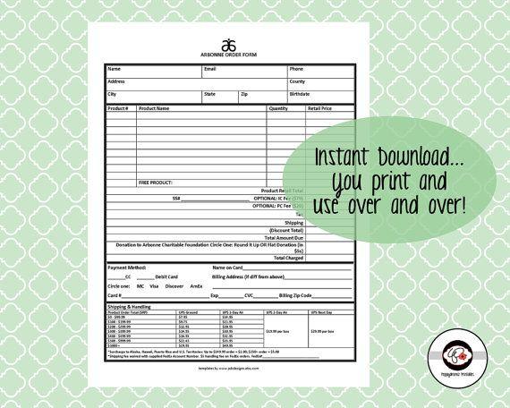 Arbonne Order Form Network Marketing Business Arbonne - business order form