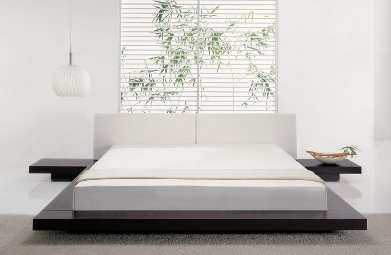Modern Japanese Style Serene White Bedroom Design With Wooden Beauteous Bed Designs For Bedroom Review