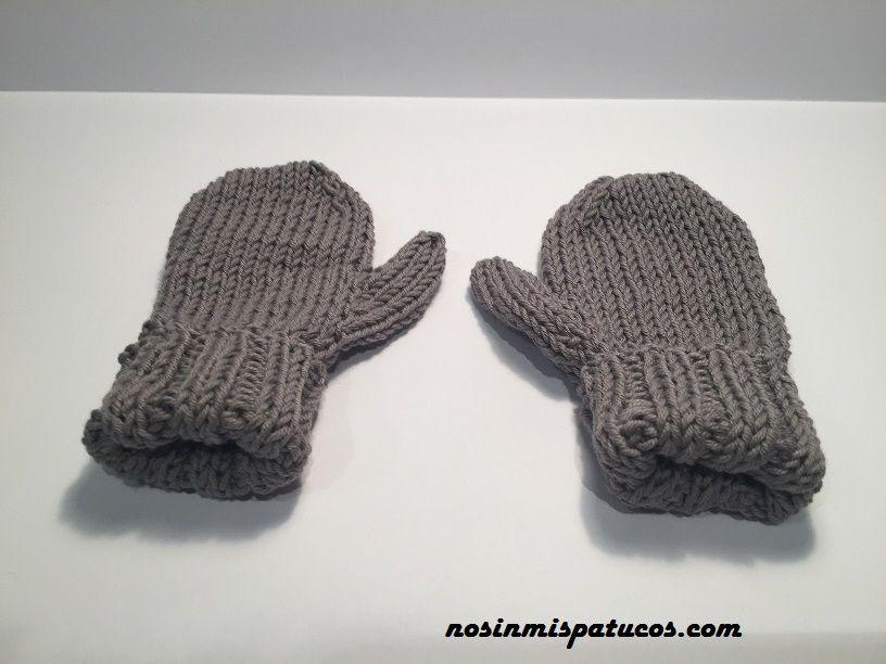 Manoplas con dedo, para bebes o niños de 1 a 2 años, tejidas a mano ...