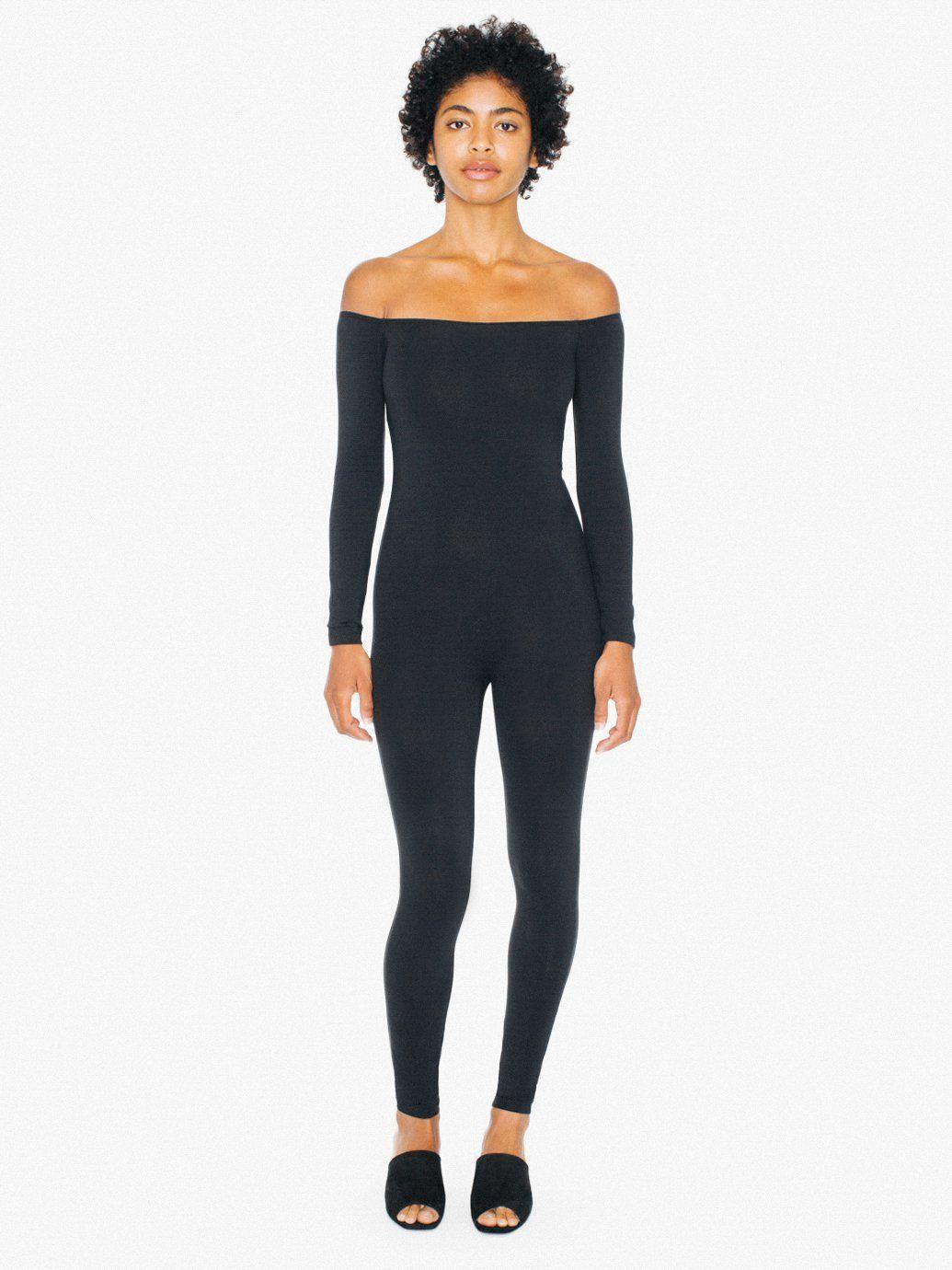 1c054d21161 Cotton Spandex Off-Shoulder Long Sleeve Catsuit