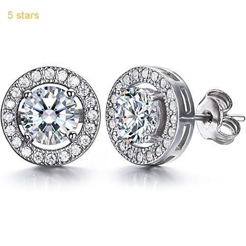 J.SHINE 925 Sterling Silver Stud Earrings for Women Men With 3A 6MM Round Cubic Zirconia pHqbnCyPez