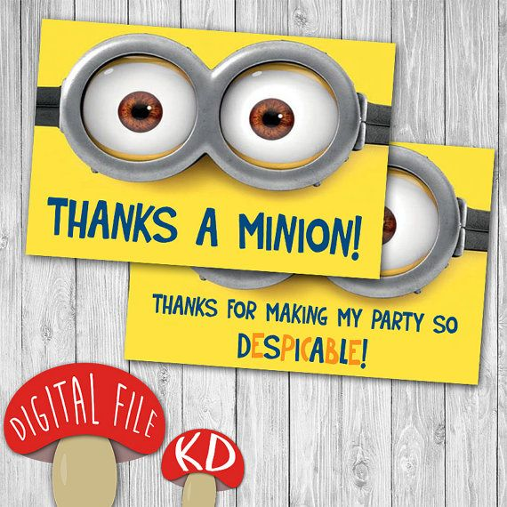 Minions Thank You Card 4x6 5x7 Despicable Me Birthday Party