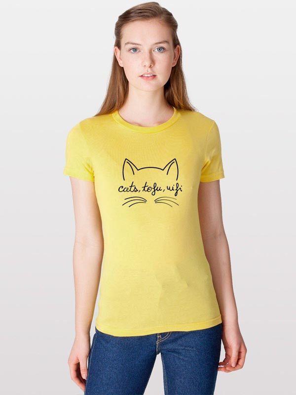 Cats, Tofu, Wifi ORGANIC Tee-Shirt (Women) | Cats, Tofu, Wifi BIOLOGIQUE Tee-Shirt (Femmes)