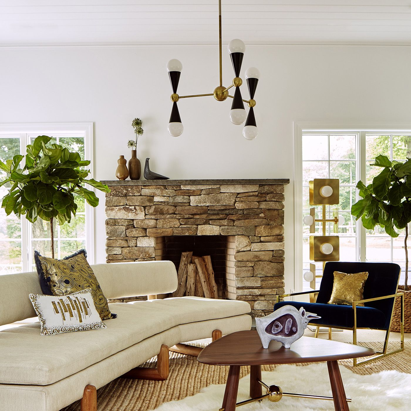 Caracas 3 Arm Chandelier and Aspen Couch from Jonathan Adler