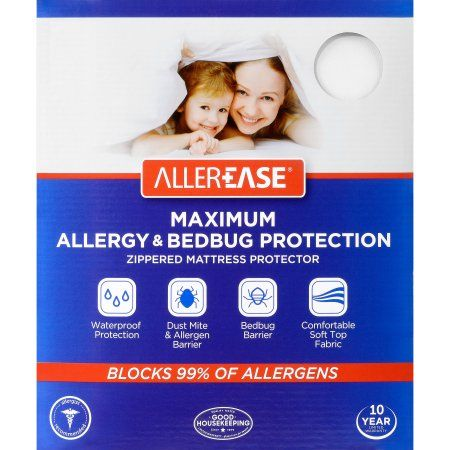Allerease Maximum Allergy Bed Bug Protection Zippered Mattress Protector King Walmart Com Allergy Bedding Mattress Protector Bug Protection