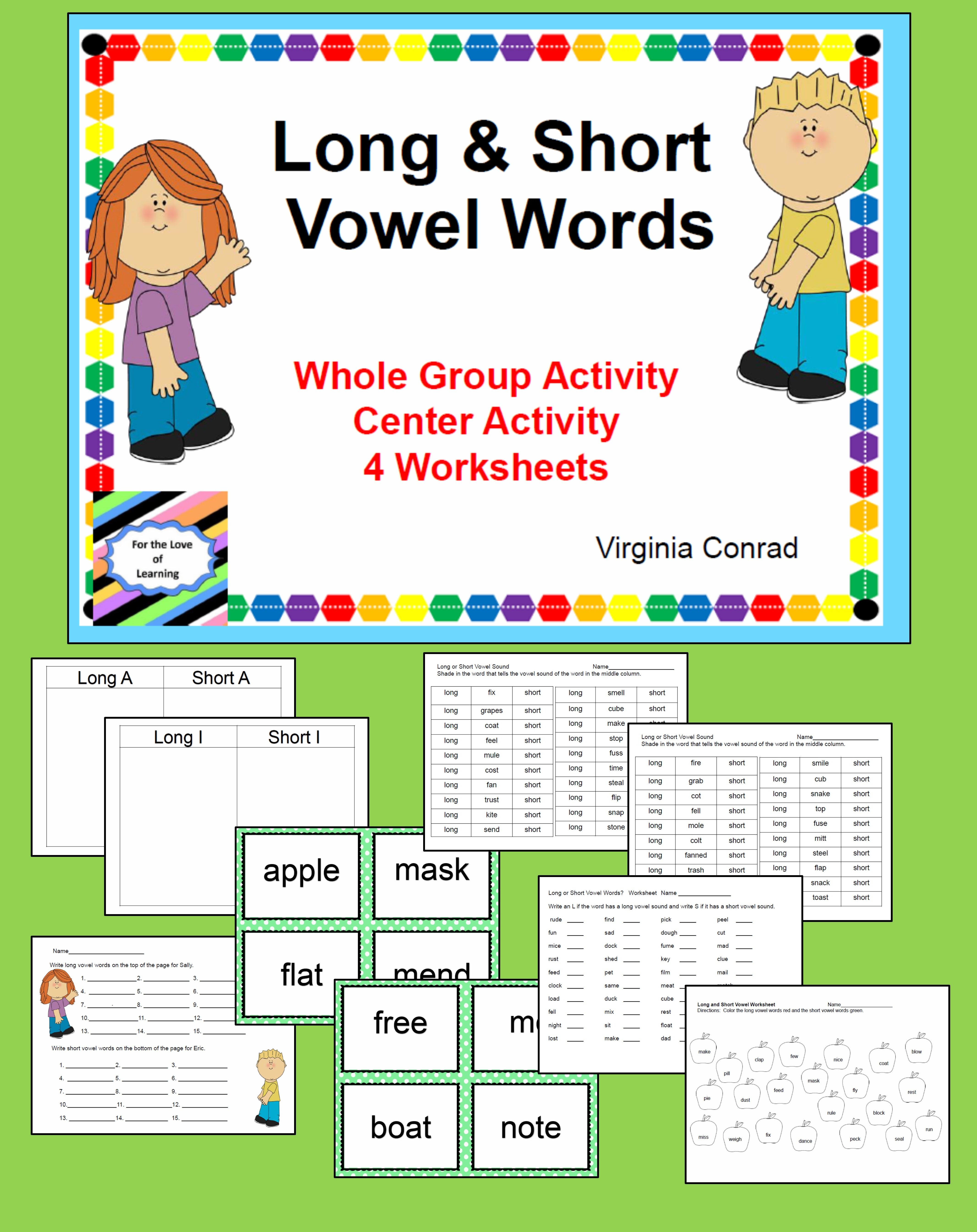 Long And Short Vowel Activities And Worksheets With