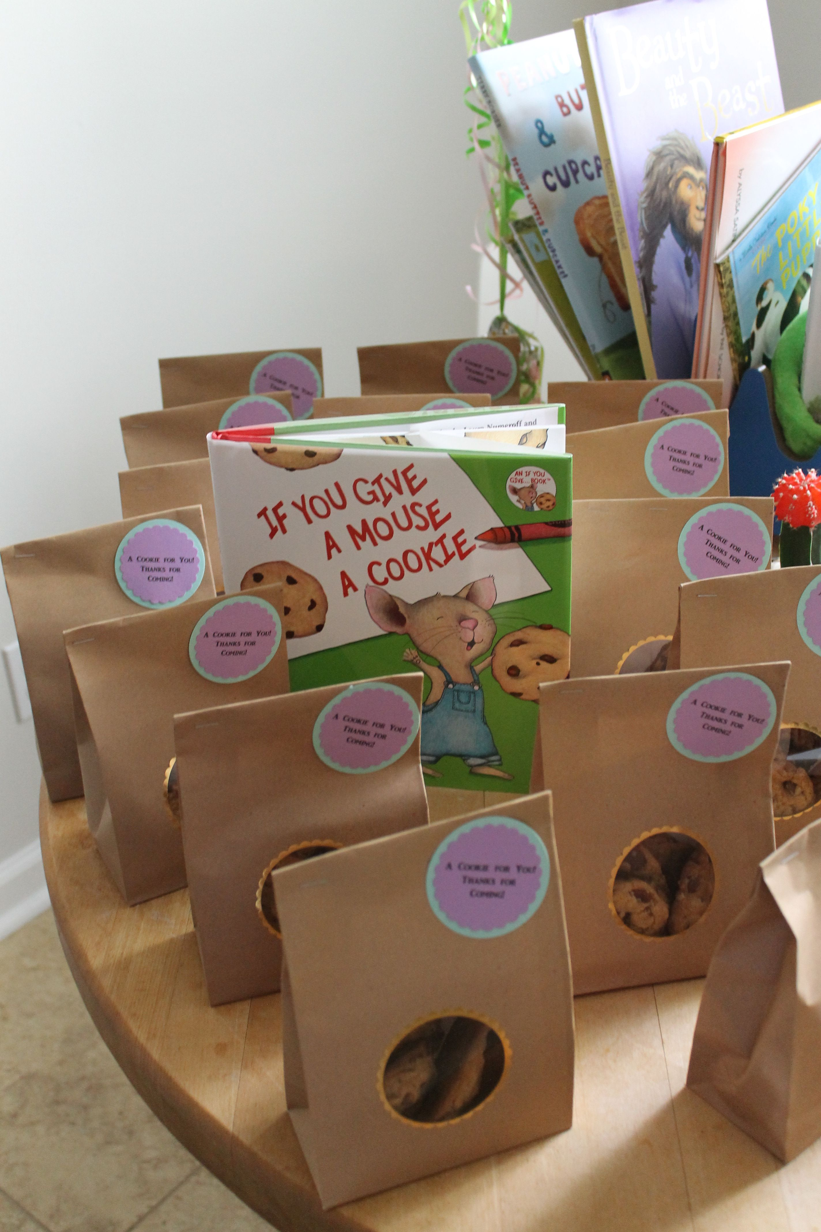 """Book themed baby shower. Books provided inspiration for food. We paired chocolate chip cookies with """"If You Give a Mouse a Cookie"""""""