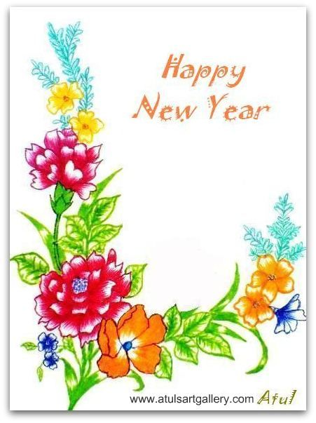 New year greeting card my art pinterest art faces art new year greeting card m4hsunfo