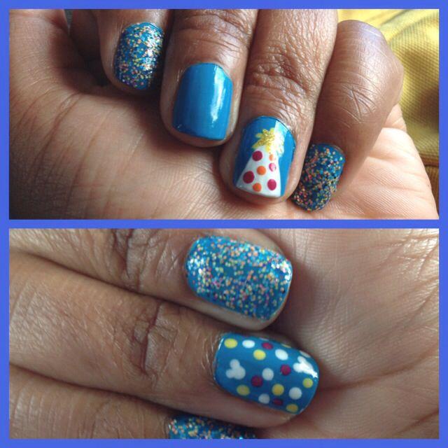 My birthday nail art! Party hat and Disney hidden Mickeys! One ...