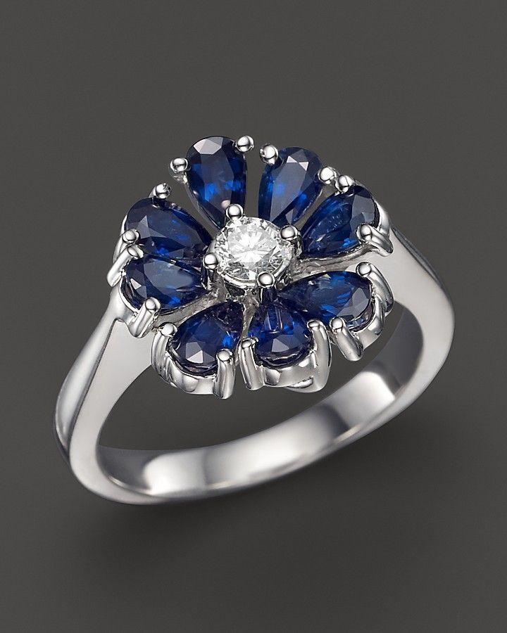 Bloomingdales sapphire and diamond flower ring in 14k