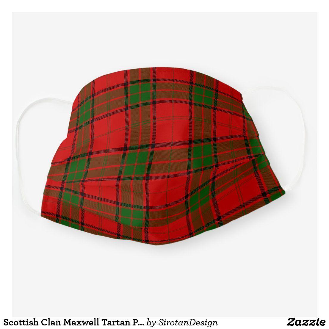 Scottish Clan Maxwell Tartan Plaid Pattern Cloth Face Mask