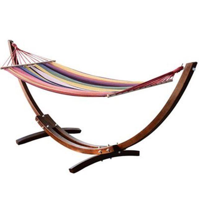 image hamac de jardin avec support en bois hamac sur pied 1 personne 2 homcom homcom. Black Bedroom Furniture Sets. Home Design Ideas