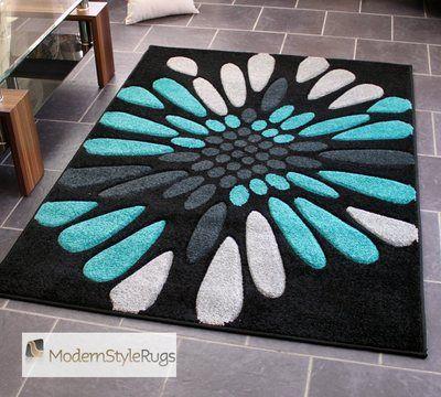 Teal Blue Black And Grey Burst Pattern Rug Very Modern