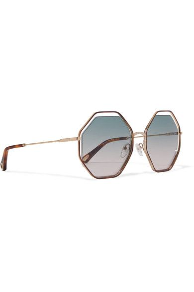 a7a3da768f6 Chloé - Poppy Octagon-frame Acetate And Gold-tone Sunglasses - Blue ...