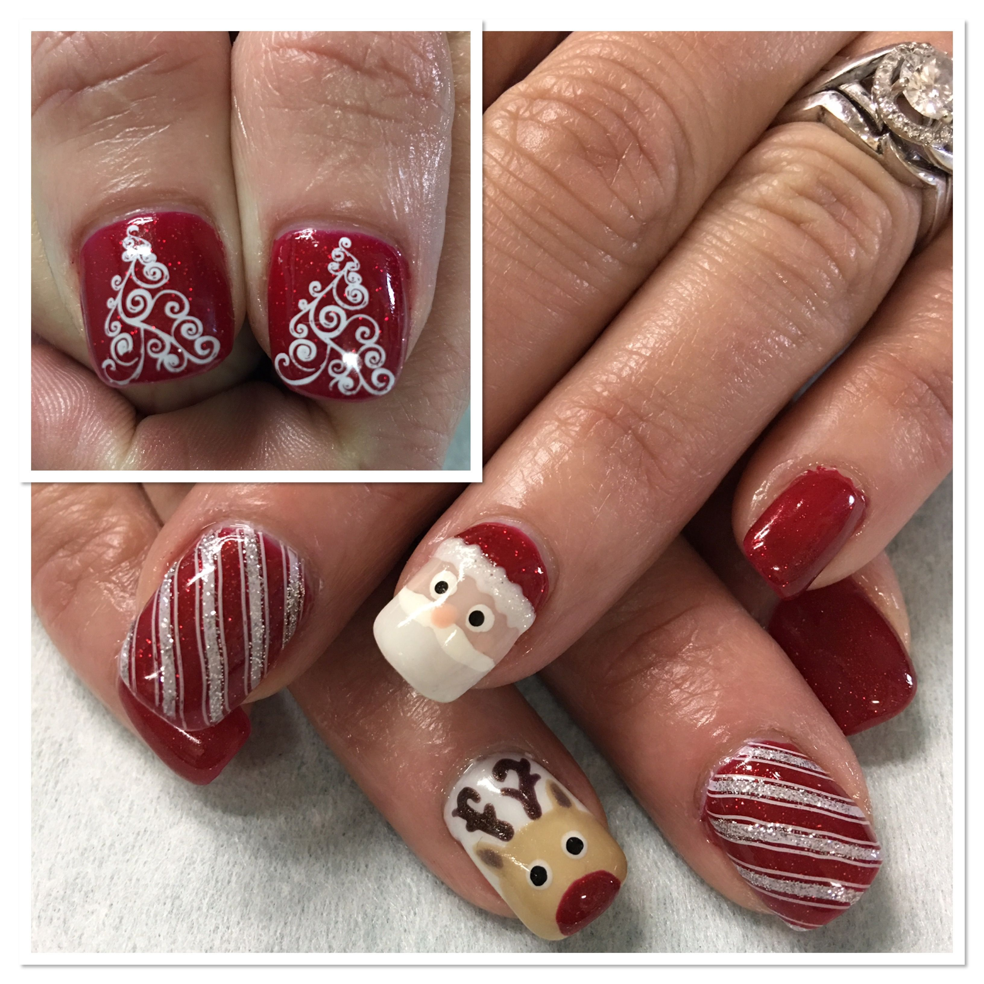 Christmas Nails; Sparkle Red, Reindeer, Santa, Candy Cane, Stamped ...