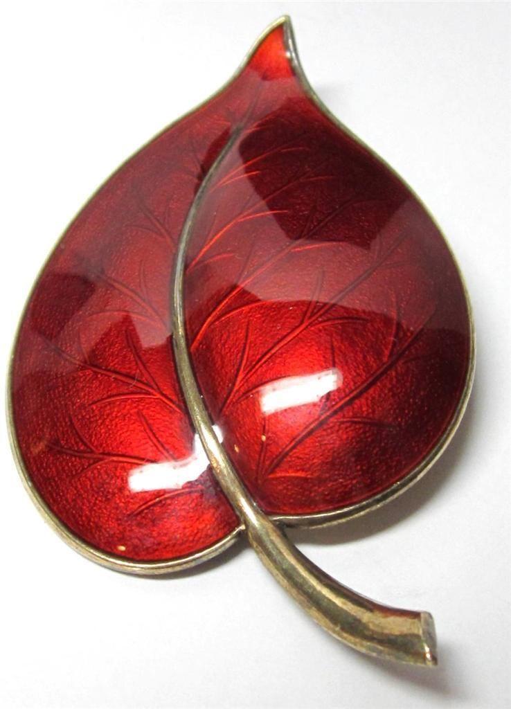 Woo -- look at that glowing red vitreous enamel! Aksel Holmsen Sterling Silver Red Guilloche Enamel Leaf Pin