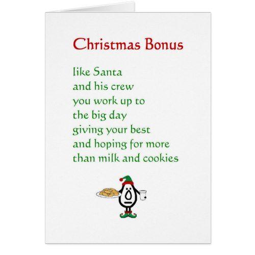 Christmas Bonus - a funny Christmas poem Holiday Card | Zazzle.com | Funny  christmas poems, Christmas poems, Merry christmas poems