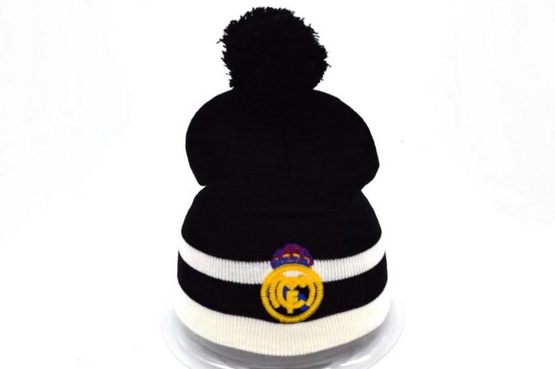 Mens   Womens Real Madrid Winter Warm Fashion Trend Striped Logo Cuff  Soccer Knit Pom Benaie Cap - Black   White 0d9d05df0