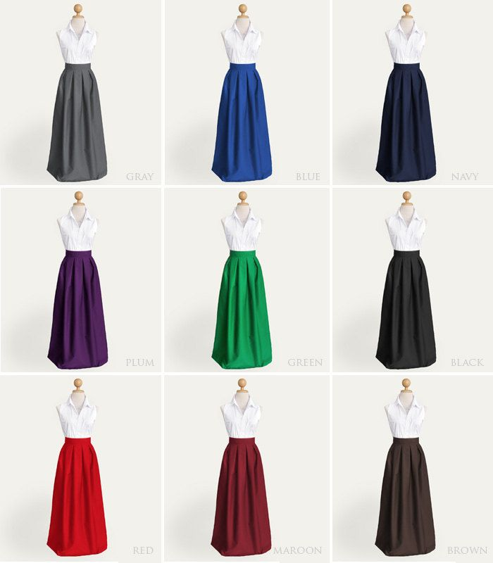 d6db95b46c Cotton pleated long skirt with pockets - custom size length in black ...