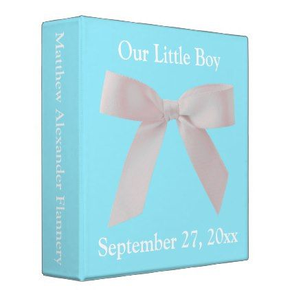 Blue and White Ribbon Bow Personalized Baby Binder - baby gifts child new born gift idea diy cyo special unique design