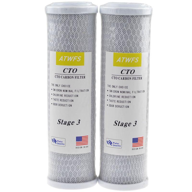 2 pz Universale Filtro Acqua Cartuccia del Filtro A Carbone Attivo, 10 Pollice Trattamento Sistema di Purificazione CTO Elettrodomestico Parte