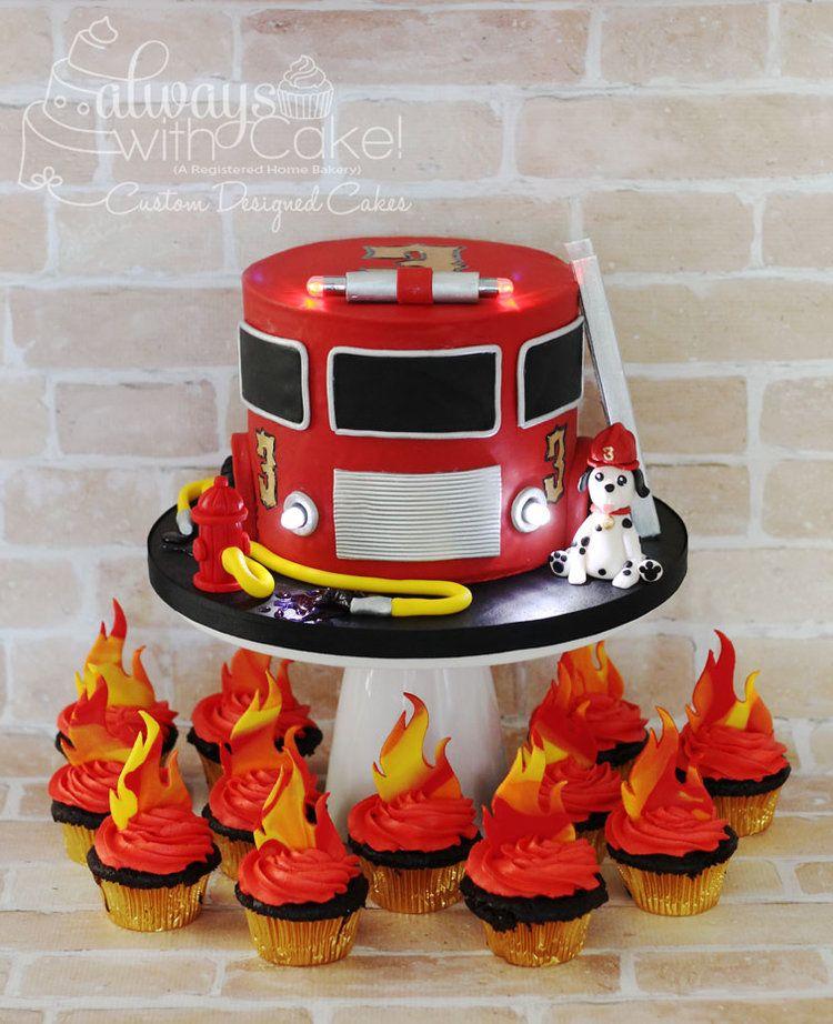 Admirable Firetruck Cake Firefighter Birthday Cakes 3Rd Birthday Cakes Funny Birthday Cards Online Alyptdamsfinfo