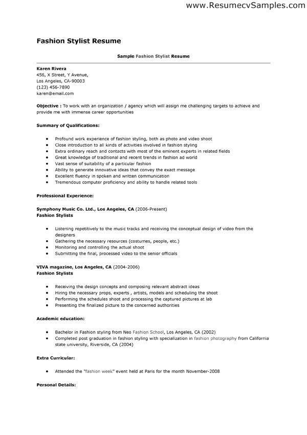 Resume For Fashion Stylist  CityEsporaCo