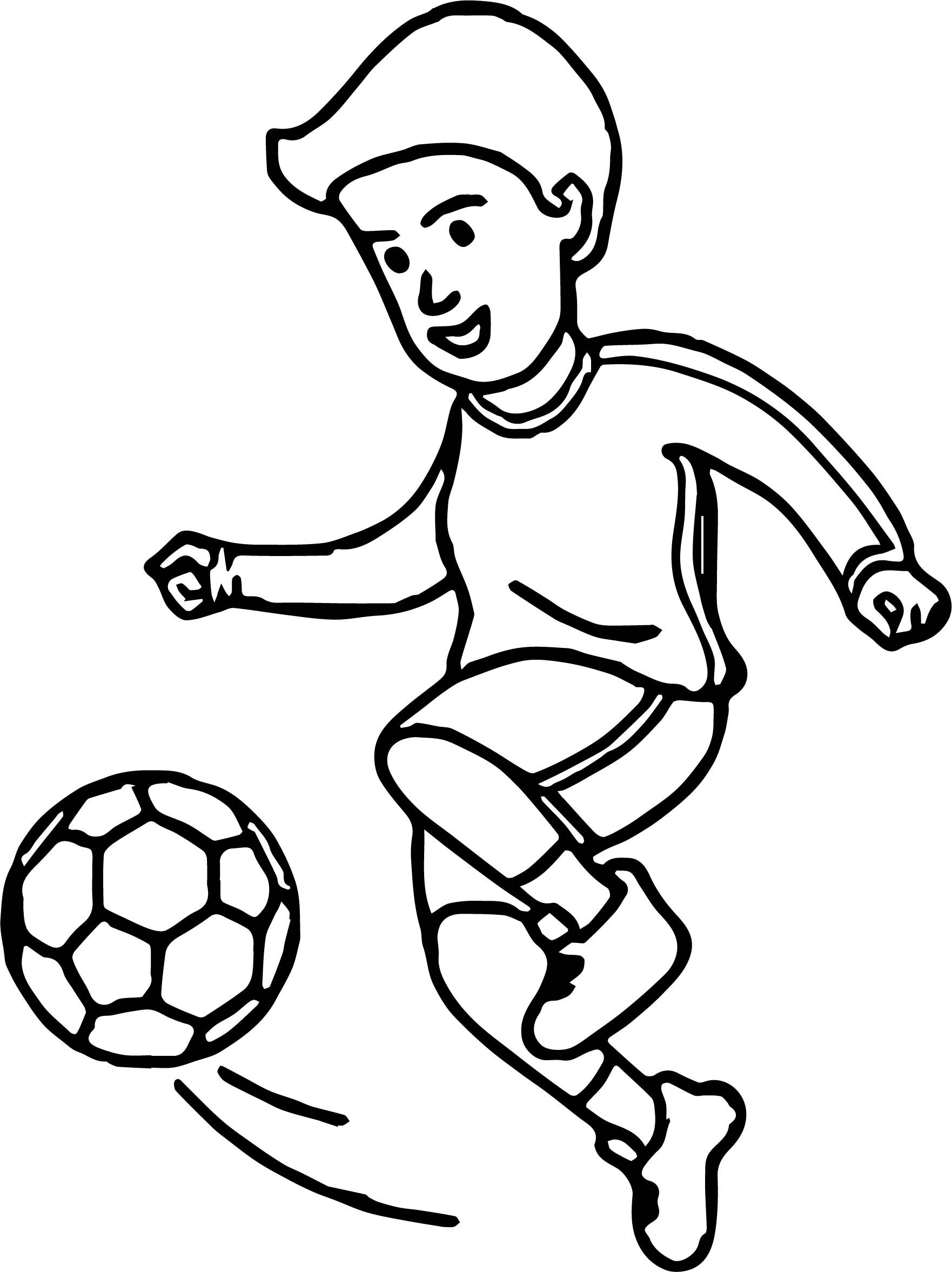 Nice Soccer Cartoon Playing Football Coloring Page Football Coloring Pages Soccer Drawing Football Player Drawing