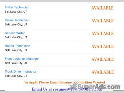 Trucking Technicians  Service Writer  Logistics Manager  Driver