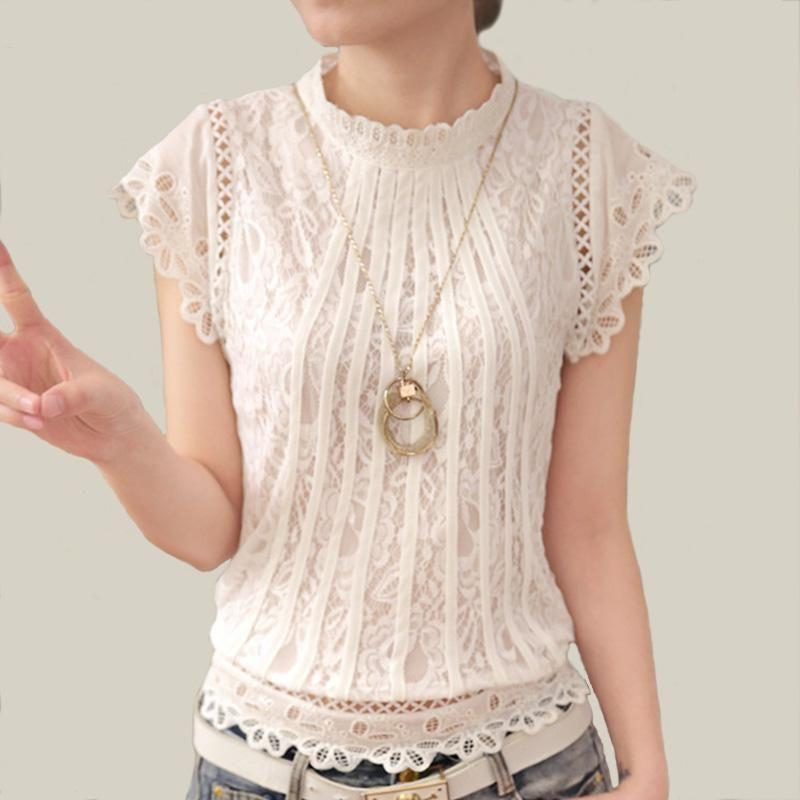 Blusas Femininas 2017 Summer Women Fashion Plus Size Crochet Hollow out Lace  Blouse Short Sleeve White