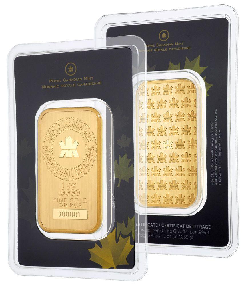 1oz Gold Bar Royal Canadian Mint Rcm 9999 Fine In Assay Gold Bar Mint Mint Gold
