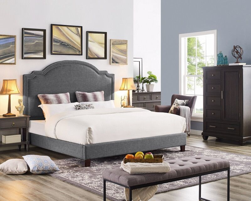 Oah D3033 Sterling Gray Linen Like Fabric Queen Low Profile Bed Frame Set Bed Frame Sets Low Profile Bed Frame Bed Frame