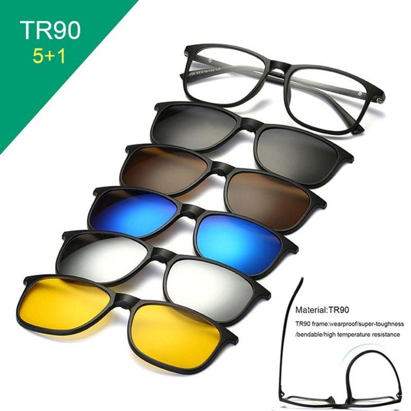 c7a7ea89d041 6 in 1 sunglasses clip on sunglasses frame myopia eyeglasses glasses tr90  frame for women men magnetic lens sunglasses 5 in 1